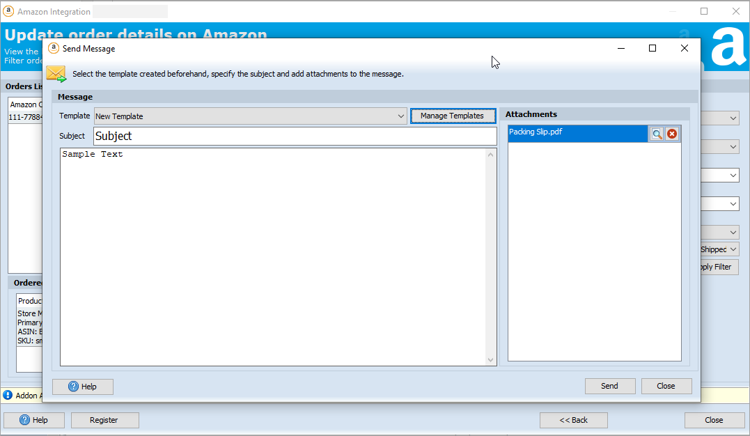 Send Message from Amazon Addon