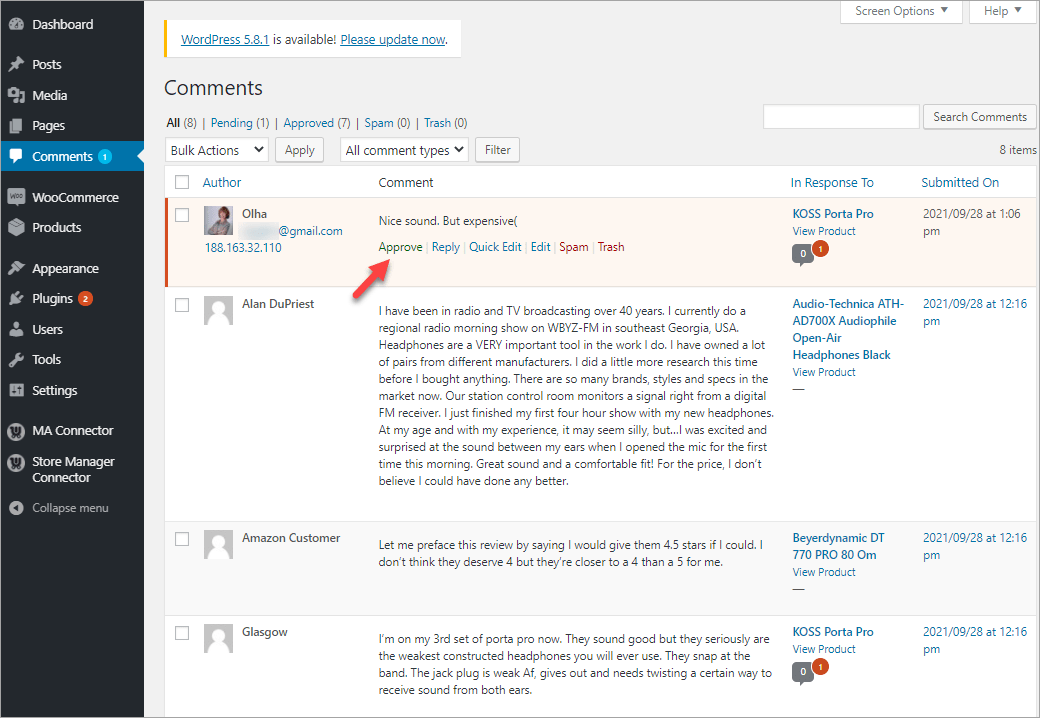 WooComerce Comment In Admin Moderate