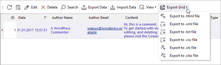 WooCommerce Store Manager Comments Grid Export