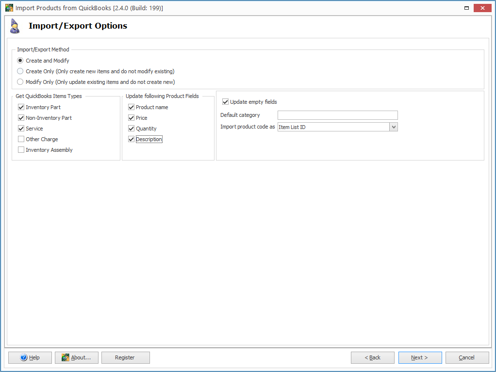 WooCommerce from QuickBooks Product Import Options