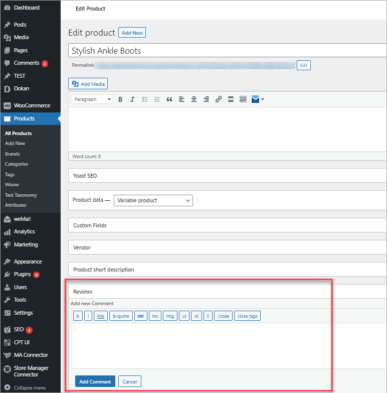 WooCommerce Add Comments From Backend