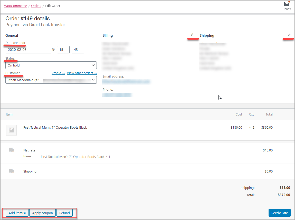 Editing General And Items Order Details in WooCommerce