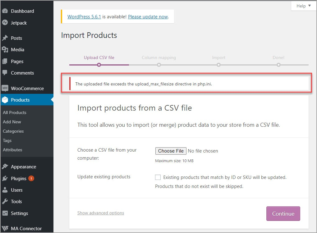 WooCommerce Import File Exceeds Limit