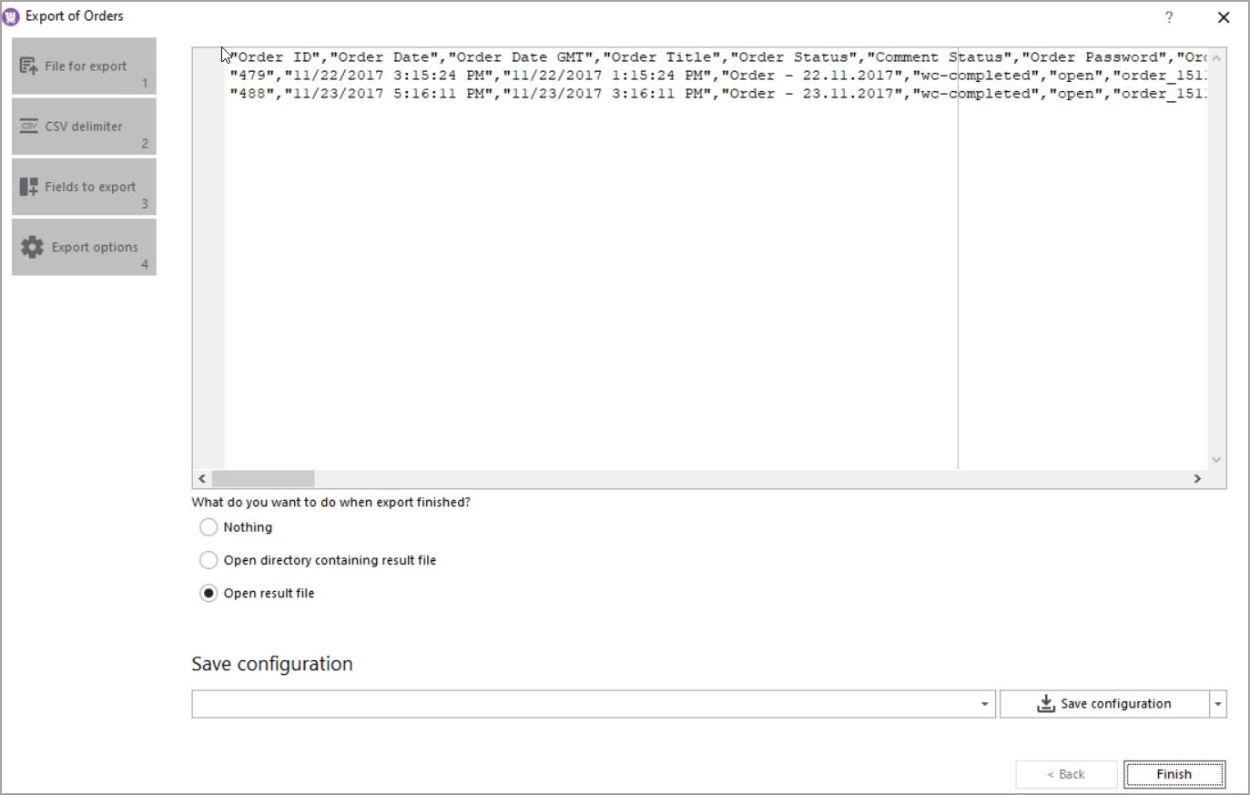 WooCommerce Order Export Finish