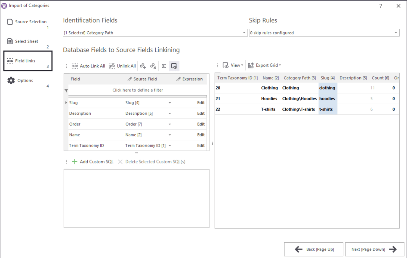 WooCommerce Store Manager Category Import Google Sheets Mapping Step