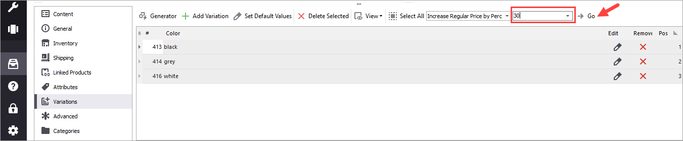 WooCommerce Store Manager Go Change Variations