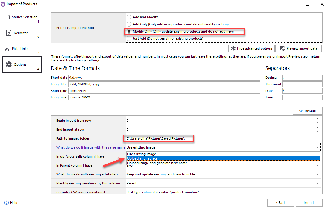 WooCommerce Store Manager Import Replace Image Option