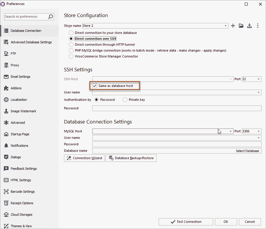WooCommerce Store Manager Preferences Direct Same Host