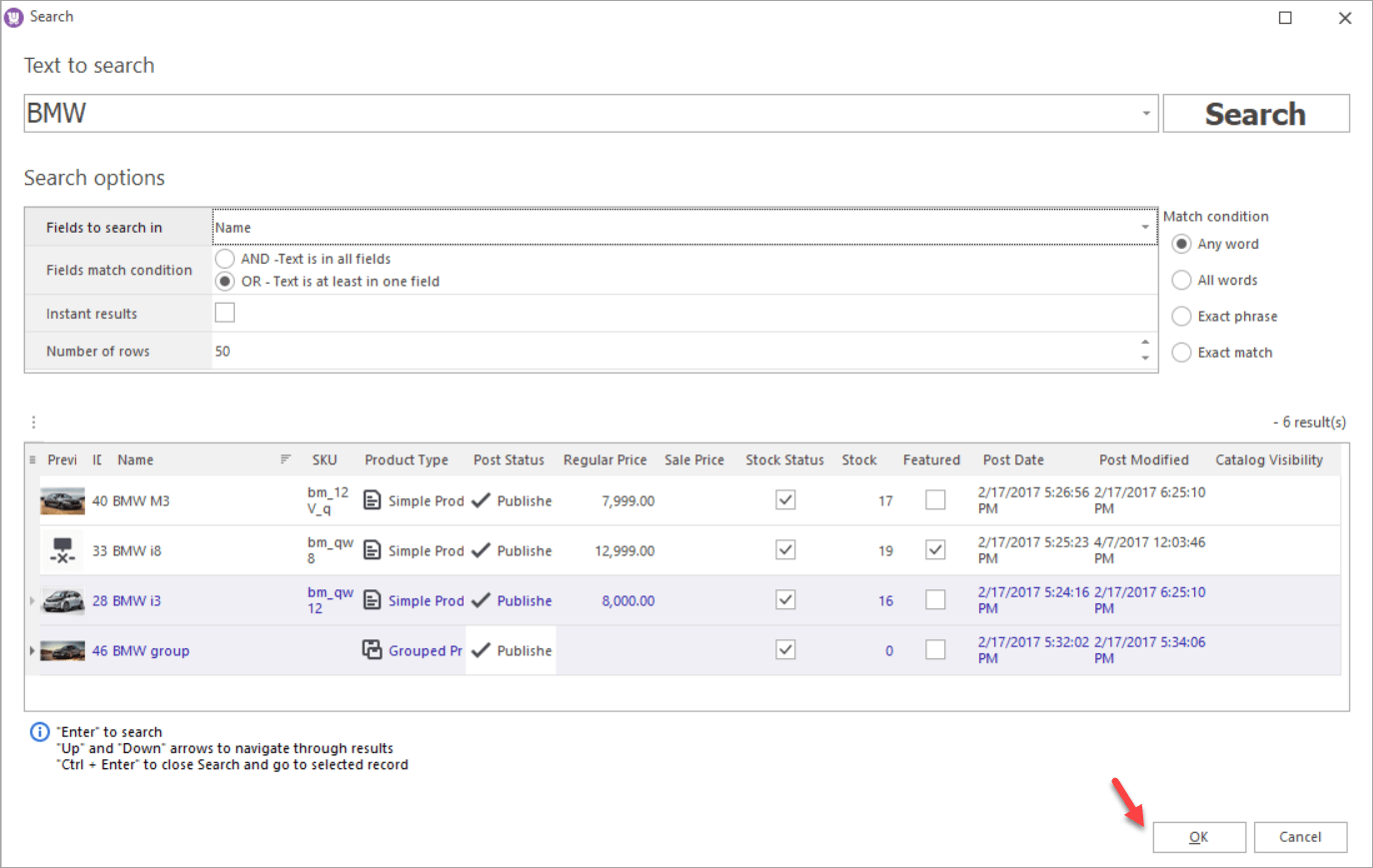 WooCommerce Store Manager Search Linked Products