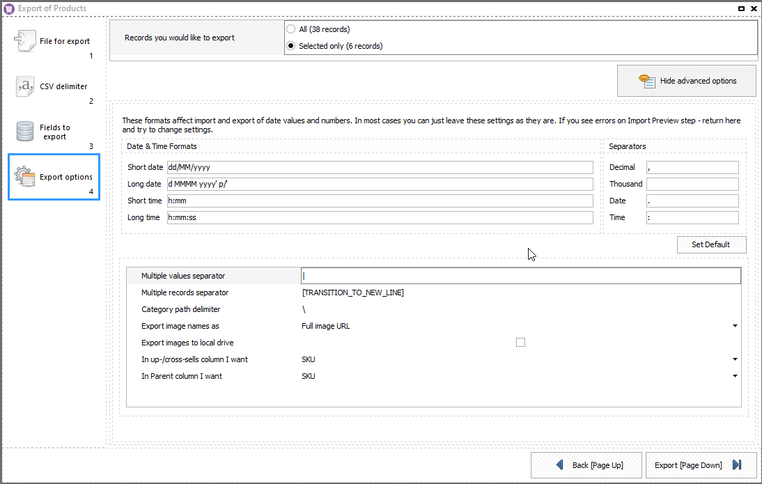 WooCommerce Store Manager Spreadsheets Product Export Options