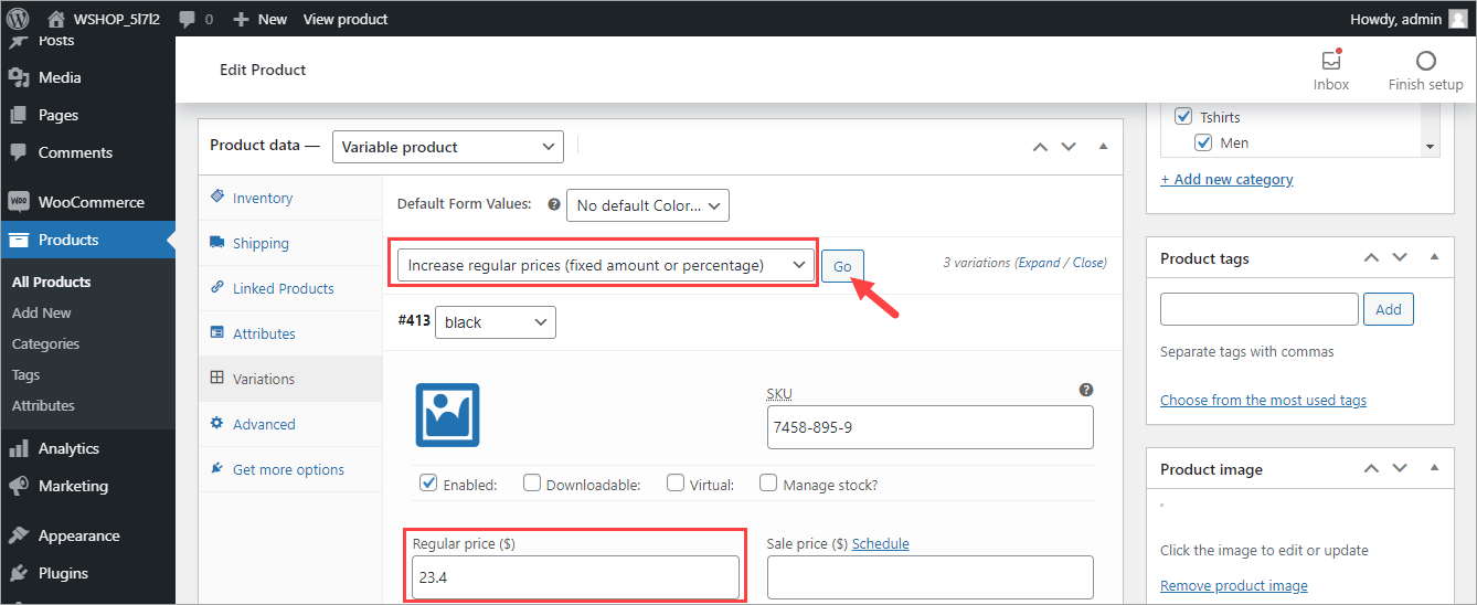 WooCommerce Update Variable Product Price