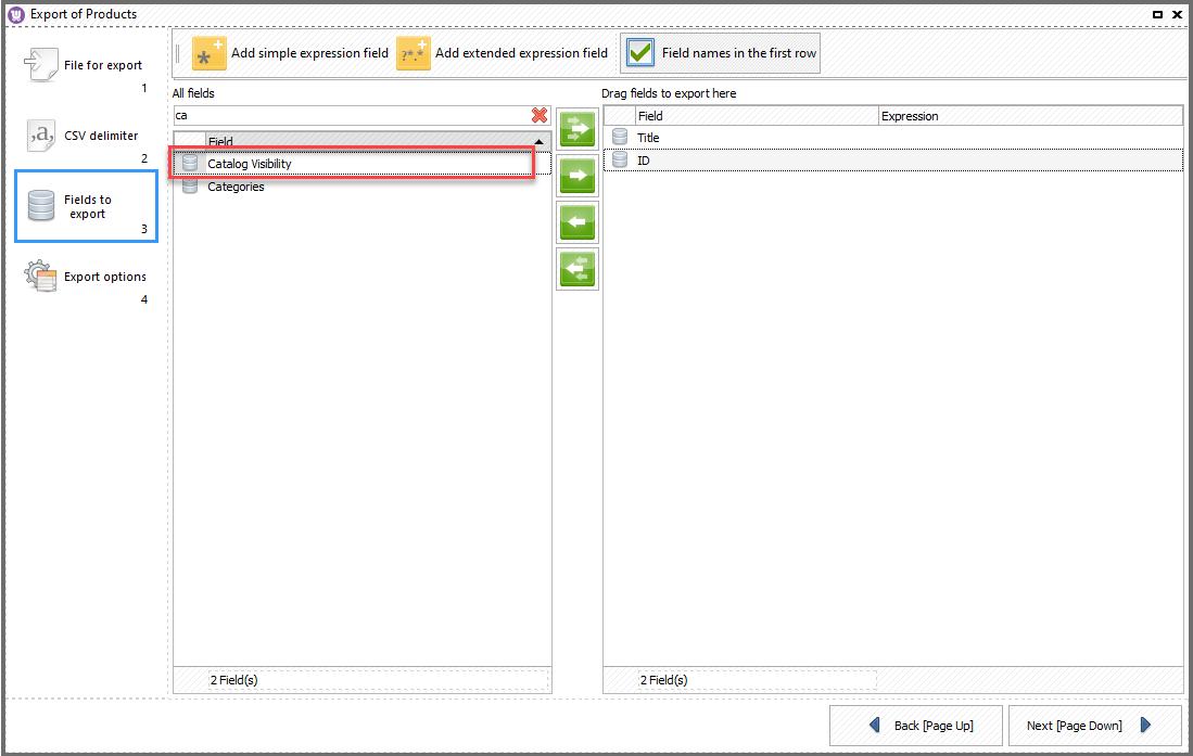 WooCoomerce import export catalog visibility