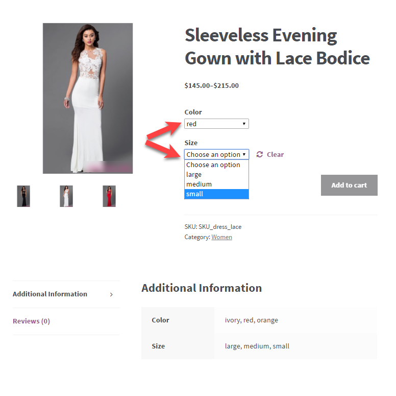 wooCommerce - Variable Product Example