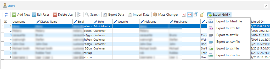 woocommerce customers export formats