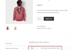 woocommerce attributes example front-end