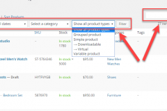 wocommerce product filter in the admin