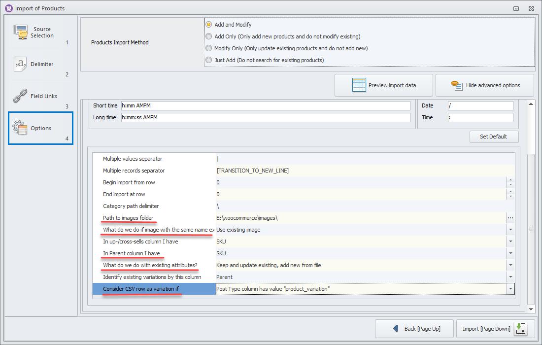 woocommerce variation image import settings