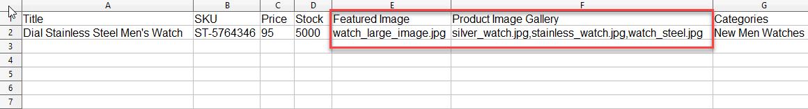 woocommerce image import sample file