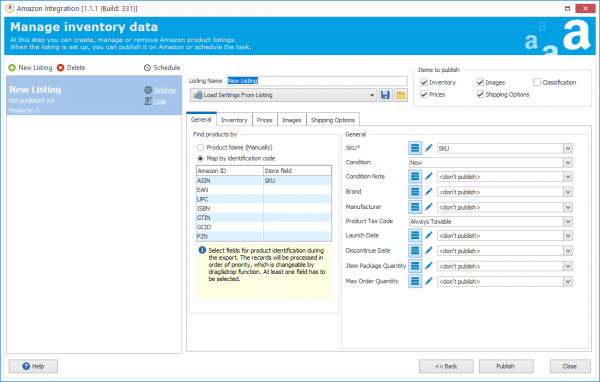 Settings Option In Manage Inventory Data Window