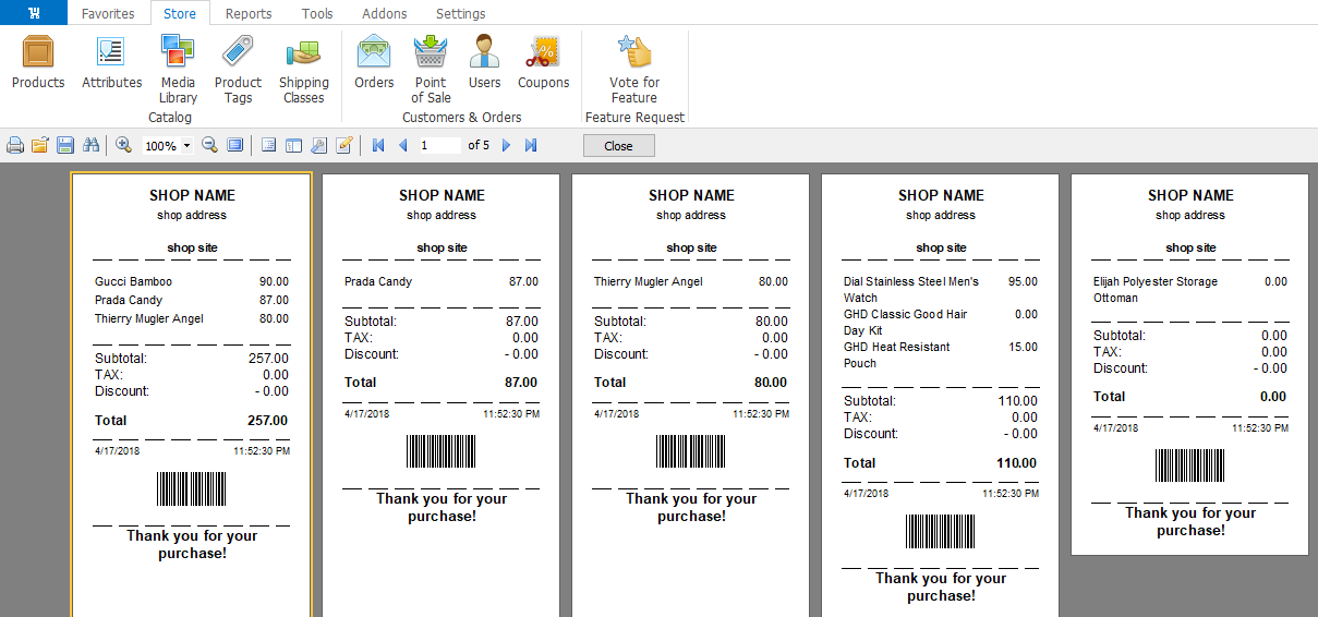 woocommerce receipts preview