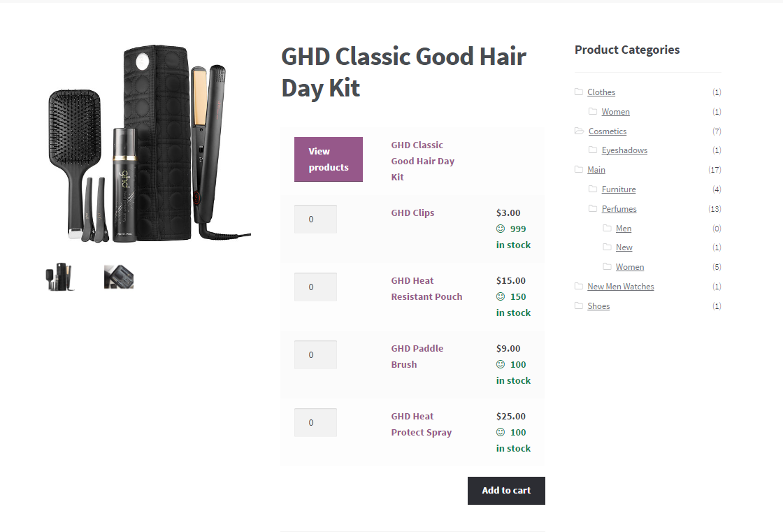 woocommerce grouped product