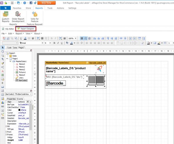 Report Designer To Edit Barcode Labels