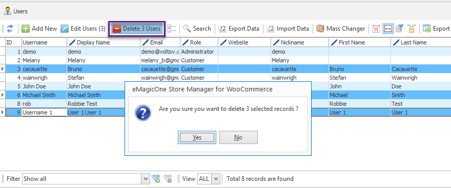 delete selected woocommerce users