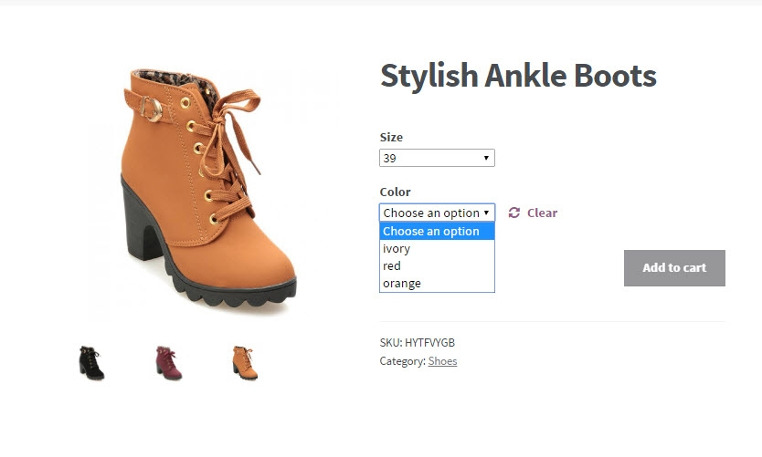 woocommerce variations display at frontend