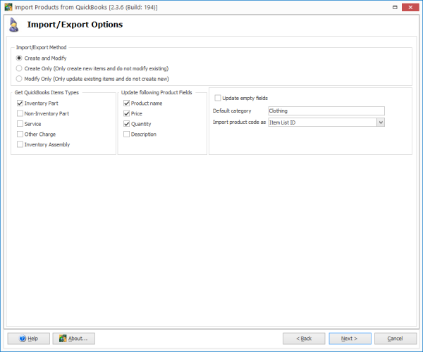 WooCommerce Import Products From QuickBooks Options